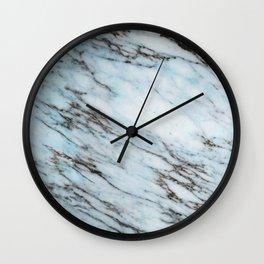 Aqua Black and White Marble Crackle Wall Clock