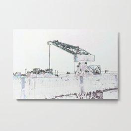 Canal Port Crane Drawing Metal Print