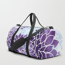 Space Dahlias Purple Ice Duffle Bag