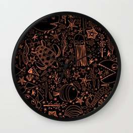 Underwater pattern black design Wall Clock