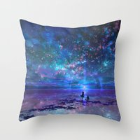 discount Throw Pillows featuring Ocean, Stars, Sky, and You by Melissa Hui Wang (muddymelly)