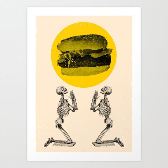 Hamburger Pray Art Print