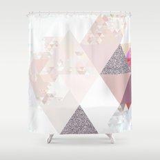 Triangles in glittering Rose quartz - pink glitter triangle pattern Shower Curtain