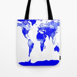 World map Blue & White Tote Bag