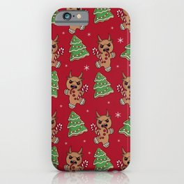 Gingerbread Krampus pattern iPhone Case