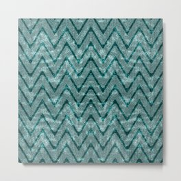 Teal Green Velvety Zigzag Chevron Pattern Metal Print