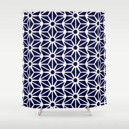 Asanoha Pattern - White on Navy Shower Curtain