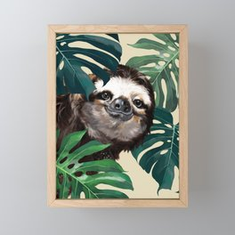 Sneaky Sloth with Monstera Framed Mini Art Print