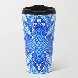 watercolor blue mandala Travel Mug