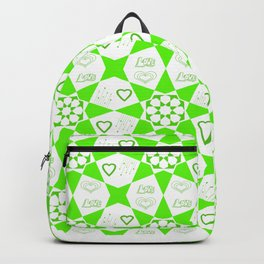 Bright Green Geometric Pattern with Love Typography and Hearts Backpack