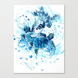Three Sea Turtles, blue bathroom turtle artwork, Underwater Canvas Print