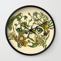 botanical Wall Clocks featuring Botanical Pug by Huebucket