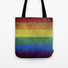 LGBTQ Rainbow Pride Flag (Weathered) Tote Bag