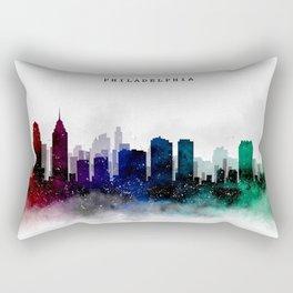 Philadelphia Watercolor Skyline Rectangular Pillow