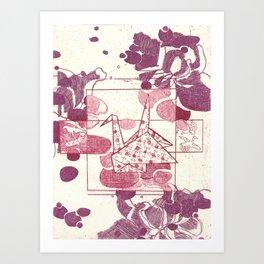 Pink and Purple Paper Crane Art Print
