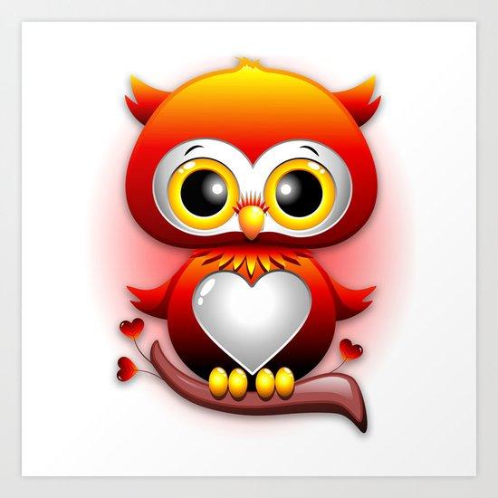 Baby Owl Love Heart Cartoon  Art Print