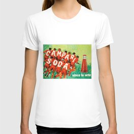 Vintage 1970 Soccer Motif Campari Soda Advertisement by Pijoan T-shirt