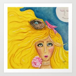 The Birds Called Her Home and the Moon Approved Art Print