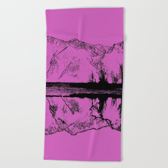 Knik River Mts. Pop Art - 5 Beach Towel