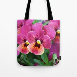 Italian Garden - Pink Pansy Flower Tote Bag