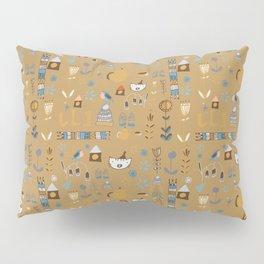 hygge cat and bird camel Pillow Sham