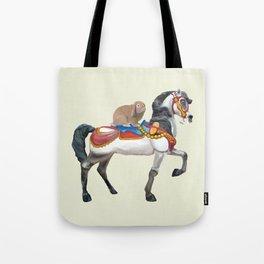 Bunny Riding a Carousel Horse Tote Bag