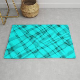 Bright metal mesh with light blue intersecting diagonal lines and stripes. Rug