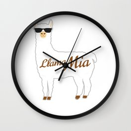 Llama Mia Mama Mia Best Gift For Alpaca Lovers Wall Clock