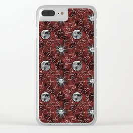 Celestial Star Signs in a Red Galaxy Clear iPhone Case