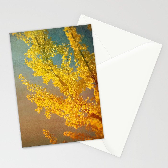 Yellow Ginkgo Tree in Autumn Stationery Cards