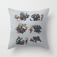 how to train your dragon Throw Pillows featuring How Not to Train Your Dragon by Dooomcat