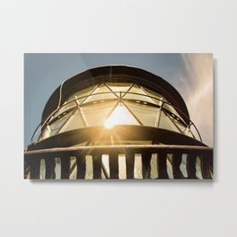 Sun Reflection on Glass Jupiter Lighthouse Architectural / Nature Photograph Metal Print