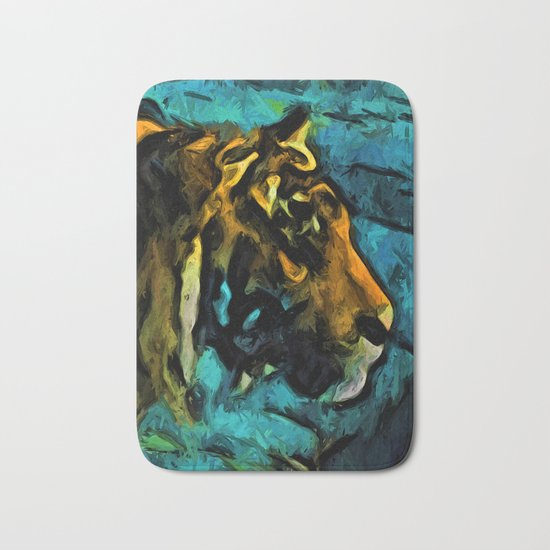 Gold Tiger with Black Lines and some Blue Bath Mat