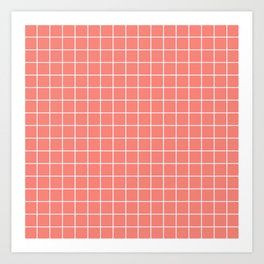 Coral pink - pink color - White Lines Grid Pattern Art Print