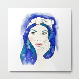 Blue Hair Don't Care Metal Print
