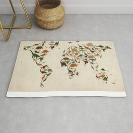 Dinosaur Map of the World Map Rug