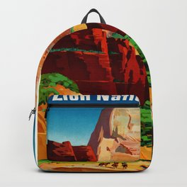 Zion National Park Vintage Poster Backpack