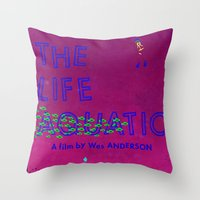the life aquatic Throw Pillows featuring The Life Aquatic by Wharton