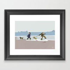 Dog Walkies Beach Wall Art, Beach Art Nursery Decor, Nursery Wall Art for Boys Room Framed Art Print