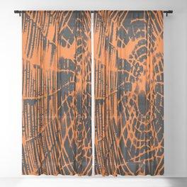 Intricate Halloween Spider Web Orange and Black Palette Sheer Curtain