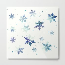 MIDNIGHT SNOWFLAKE PATTERN Metal Print