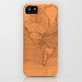 World Surface Routes in Brown iPhone Case
