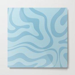Light Aqua Blue Liquid Swirl Abstract Pattern Square Metal Print