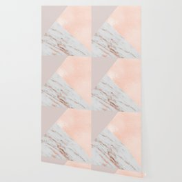 Blush pink layers of rose gold and marble Wallpaper