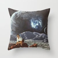 "alone Throw Pillows featuring ""Alone"" by TRASH RIOT"