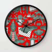crocodile Wall Clocks featuring crocodile by BUBUBABA