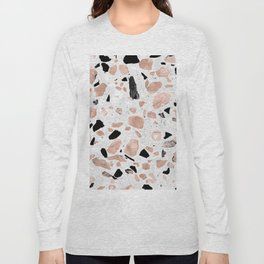 Classy rose gold vintage marble abstract terrazzo design Long Sleeve T-shirt