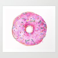 donut Art Prints featuring DONUT!!!! by annelise johnson