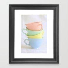 Pastel Tea Cup Stack Framed Art Print