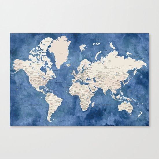 Light brown and blue watercolor detailed world map by blursbyaishop